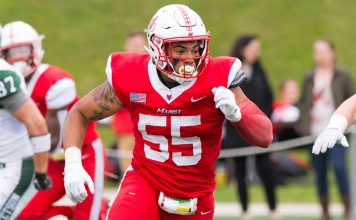 The Marist football team dropped a Pioneer Football League contest at San Diego by a score of 31-7 on Saturday afternoon at Torero Stadium. Pictured above Marist Red Foxes' Peter Delatour.