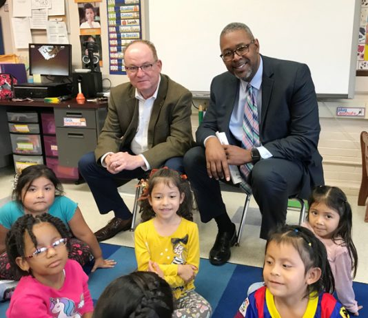 City of Poughkeepsie Mayor Rob Rolison and Superintendent of Schools Dr. Eric Jay Rosser visit students at the Early Learning Center last Monday.