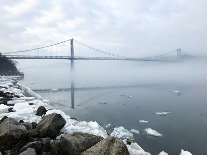 View of the Mid-Hudson Bridge from Waryas Park, City of Poughkeepsie. Photo: Sarah Salem