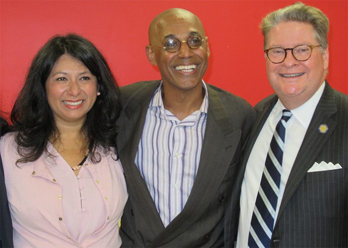 From left to right: Norma Pereira, Wildredo Morel, and Sen. Peter Harckham pose for a photo.