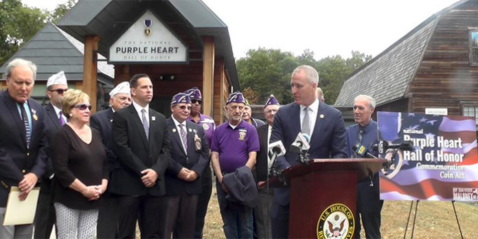 """About 1.8 million Americans have been awarded a Purple Heart for sustaining wounds in combat. Congressman Sean Patrick Maloney (D, NY-18) pushed through the House legislation to create a new honor. """"Create a coin honoring all those who've been awarded the Purple Heart throughout American history. And it will also generate millions of dollars in proceeds supporting the mission of this terrific organization."""""""