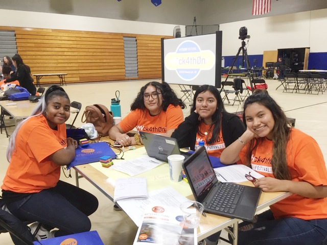 Newburgh Free Academy P-TECH members who were one of the school's teams competing at Saturday's AT&T Hackathon, held at Mount Saint Mary College, included from left, juniors Sandrique Knight, Destiny Erazo, Kimberly Mejia and Zoila Loja. The team was diligently trying to figure out ways to make technology more accessible to families in economically challenges areas of our region.