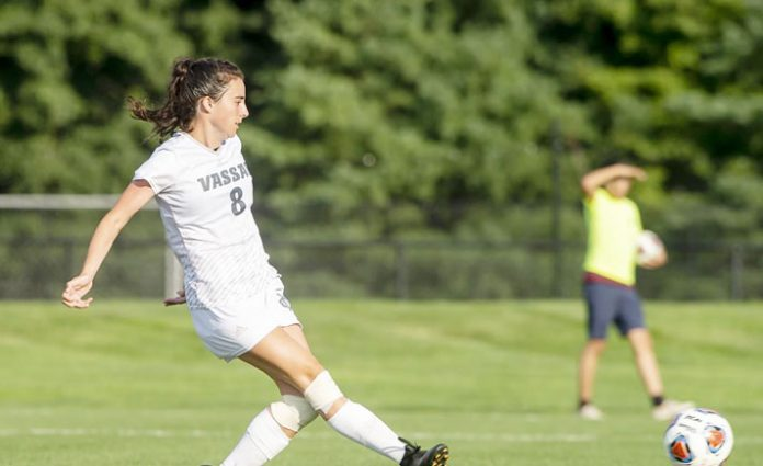 Sophomore midfielder Gabi Tulk tipped a shot in on goal to lift the Vassar College women's soccer team past Union College, 1-0 in overtime on Saturday at Gordon Field.