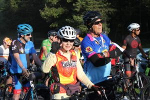 Cyclist Bonnie Orr waved from the start line as she awaited the launch of the morning's first ride, the 65-mile route.