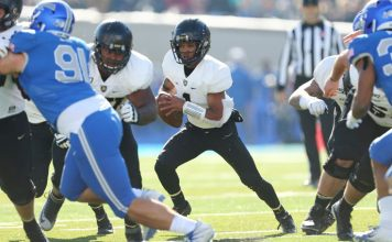 Jabari Laws got the start at quarterback for Army and threw for 214 yards and a touchdown, while also rushing for 46 yards and a score.