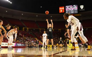 The Army West Point women's basketball team fell to No. 18 Arizona State Sunday evening at Desert Financial Arena, 83-51. The Cadets had 18 points off the bench, led by Libby Tacka's seven (pictured above).