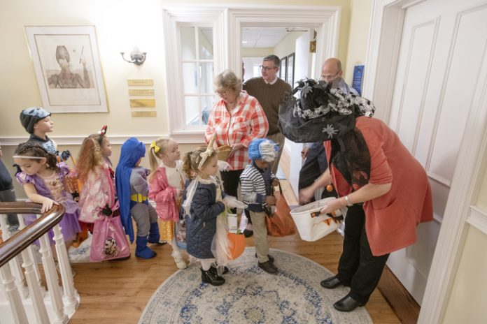 Continuing a longstanding tradition between the two institutions, children from Bishop Dunn Memorial School donned their Halloween costumes and went trick-or-treating at Mount Saint Mary College on Thursday, October 31. Photo: Lee Ferris