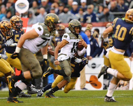 In the 120th installment of the Army-Navy Game presented by USAA, Army West Point fell to service-academy foe No. 21 Navy, 31-7, on Saturday at Lincoln Financial Field. Pictured Above Army Black Knights Christian Anderson. Photo: Danny Wild