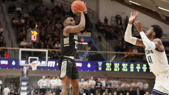 In an afternoon filled with career milestones, four cadets scored in double-figures to lift the Army West Point men's basketball team to a resounding, 89-76, road win against Buffalo on Saturday afternoon. Pictured above Army Black Knights Lonnie Grayson.