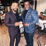 """Brooklyn Chop House (BCH), is steadily becoming the hottest restaurant in NYC, Known for its Asian and steakhouse fusion cuisine, the popular eatery attracted Oscar winner and """"Beat Shazam"""" host Jamie Foxx (lef) and his 30 person entourage, who dined there this week after a fundraiser event."""