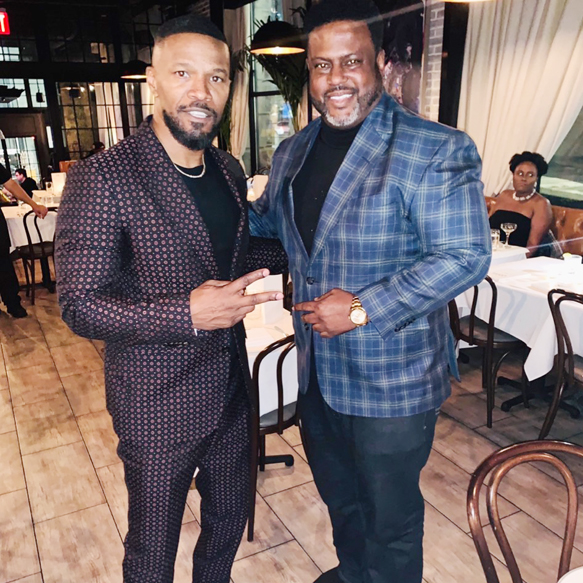 "Brooklyn Chop House (BCH), is steadily becoming the hottest restaurant in NYC, Known for its Asian and steakhouse fusion cuisine, the popular eatery attracted Oscar winner and ""Beat Shazam"" host Jamie Foxx (lef) and his 30 person entourage, who dined there this week after a fundraiser event."