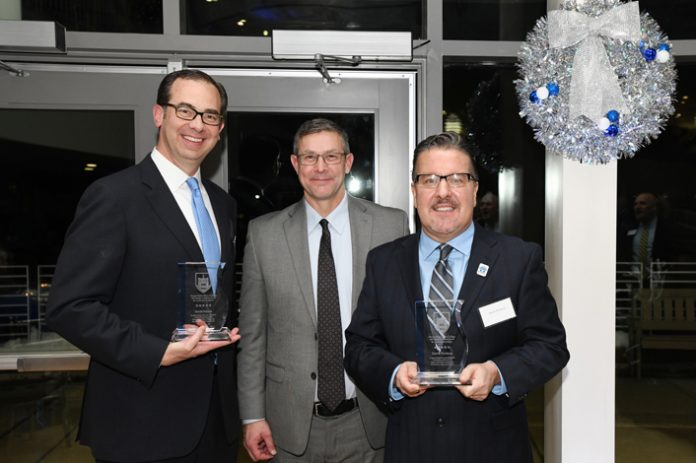 At the Mount Saint Mary College Tenth Annual Gala: Honoree David Potack, President of Unitex Textile Rental Services, Inc.; Dr. Jason N. Adsit, President of Mount Saint Mary College; and honoree Derrik R. Wynkoop, President and Chief Executive Officer of Walden Savings Bank. Photo: Lee Ferris