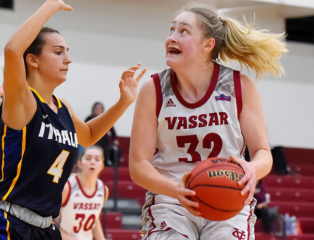Three Brewers notched double-figures to lead Vassar College to a 64-42 win over Skidmore College. Pictured above Vassar's Sophie Nick.