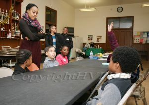 Shawna Newkirk-Reynolds leads a youth workshop during the Black History Committee of the Hudson Valley Annual Rev. Dr. Martin Luther King Jr Memorial Service on Monday, January 20, 2020 at Ebenezer Baptist Church in Newburgh, NY. Hudson Valley Press/CHUCK STEWART, JR