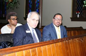 NYS Assemblyman Jonathan Jacobson and City of Newburgh Mayor Torrance Harvey listen to the panel discussion during the Black History Committee of the Hudson Valley Annual Rev. Dr. Martin Luther King Jr Memorial Service on Monday, January 20, 2020 at Ebenezer Baptist Church in Newburgh, NY. Hudson Valley Press/CHUCK STEWART, JR