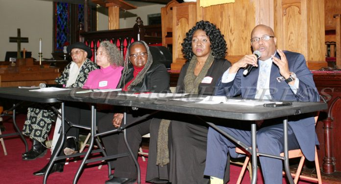 Sadie Tallie, Ramona Burton, Satina Williams, Malinda Ware and Phillip Howard led the Panel Discussion during the Black History Committee of the Hudson Valley Annual Rev. Dr. Martin Luther King Jr Memorial Service on Monday, January 20, 2020 at Ebenezer Baptist Church in Newburgh, NY. Hudson Valley Press/CHUCK STEWART, JR