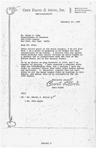 "Curt Flood's letter to MLB Commissioner Bowie Kuhn, stating that he is not ""a piece of property to be bought and sold irrespective of my wishes."" Flood also states his intention to play baseball in 1970. Photo: U.S. District Court for the Southern District of New York. / Wikimedia Commons"