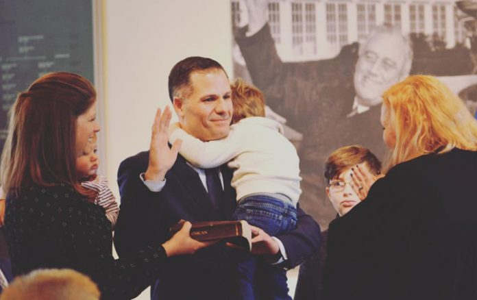 Dutchess County Executive Marcus Molinaro, was sworn in for a new term on Friday, after which he addressed well wishers while in front of a mural of President FDR and Eleanor Roosevelt.