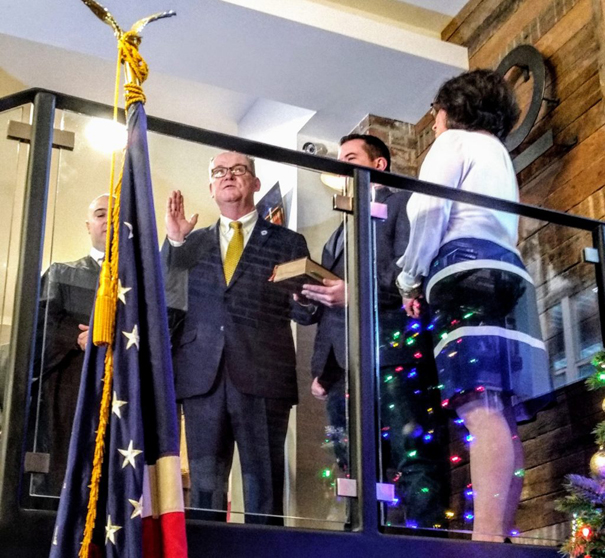 Poughkeepsie Mayor Rob Rolison took his ceremonial oath of office Wednesday afternoon. Surrounded by family, friends, city employees and a wide array of elected officials, Rolison held his hand on the Bible held by his son Christopher and was sworn into his second term as mayor.