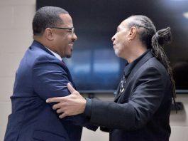 Mayor Torrance Harvey and Councilmember Omar Shakur.