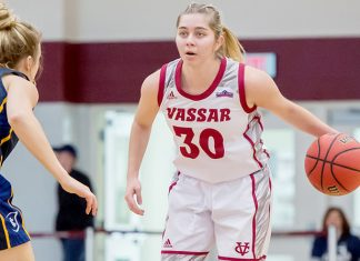 Powered by three season-high efforts, including a career-high nine assists from sophomore Sarah Gillooly, the Vassar College women's basketball team defeated Clarkson University, 91-47, in Liberty League action on Saturday afternoon. Photo: C. Stockton