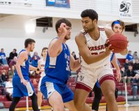 A career-high 20 points and 15 rebounds from first-year Zach Johnson helped the Vassar men's basketball team to an 82-64 win against Clarkson on Saturday afternoon. Photo: C. Stockton