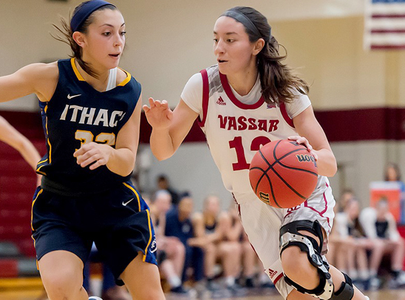 Senior forward Elly Vaughan hit the game-winning three-pointer at the buzzer to lift Union College to a 48-45 win over Vassar College in Liberty League women's basketball action on Saturday afternoon. Pictured above Vassar senior captain Jackie Cenan.