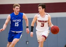 The Vassar men's basketball team outscored McDaniel 50-21 in the second half, eventually defeating the Green Terror 88-55 in the opening round of the CUNYAC vs. Cancer Tournament held at Lehman College on Saturday evening. Vassar Brewers Kyle Kappes is pictured above. Photo: C. Stockton