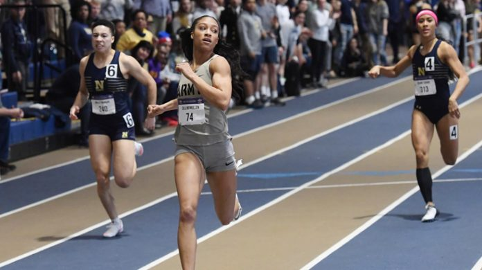 Despite another record setting effort by senior Calli McMullen, the Army West Point women's track and field team fell to rival Navy in the women's indoor Star Meet in Annapolis on Saturday.