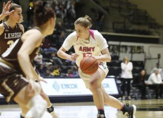 Lindsey Scamman led the way for Army with a double-double, as she scored 13 points and grabbed 11 boards.