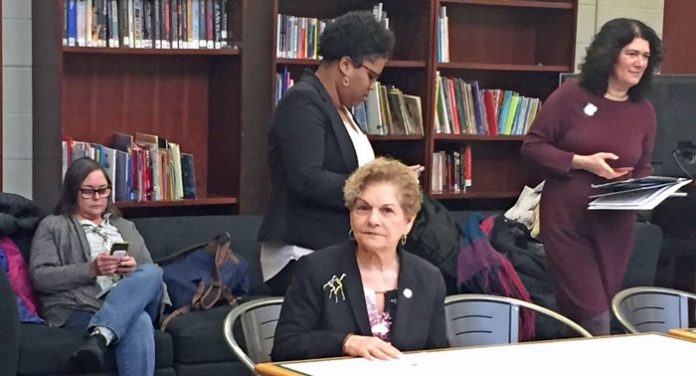Assemblywoman Ellen Jaffee, seated, announces funding to expand the Spring Valley Dr. Martin Luther King, Jr. Center amenities.
