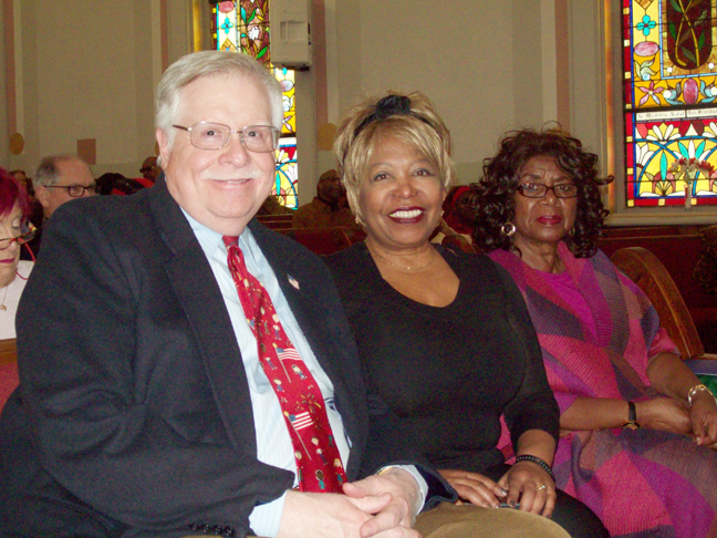 At Monday's 42nd Annual Reverend Dr. Martin Luther King Jr.'s Birthday Celebration,sponsored by the Southern Dutchess Coalition Special Presentations were made to four pivotal community members. From front are; Hon. Peter M. Forman, County Judge; Goldee Green, and Patricia J. White. Not pictured is recipient Beulah B. Jackson.