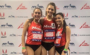 Kayla Shapiro, Lauren Harris and Katherine Miale at the Millrose Games.