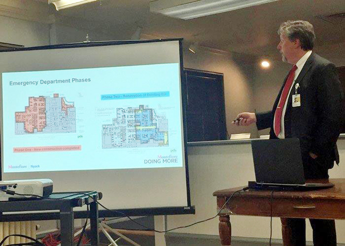 Hospital COO Michael Novak announced progress on the renovations were well underway.