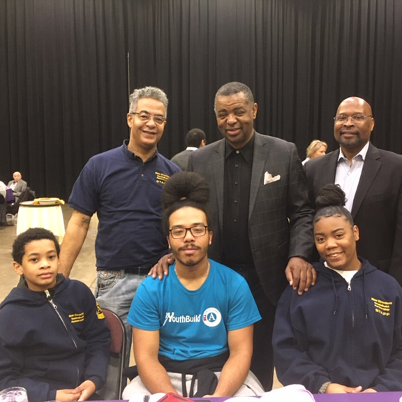 Another large turnout was on hand at Friday's 29th Annual Margin Luther King, Jr. Breakfast. Among the crowd was the youth organization, Nubian Directions. From front left are; Jordan Artist, Dante Artist, and Izreal Clarke. From back left are; William Artist, Construction Manager; William Patterson, Case Manager, and Robert Wright, Director of Nubian Directions.