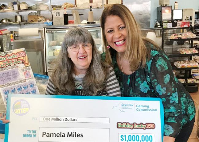 Pamela Miles, left, is all smiles with the Lottery's Yolanda Vega.