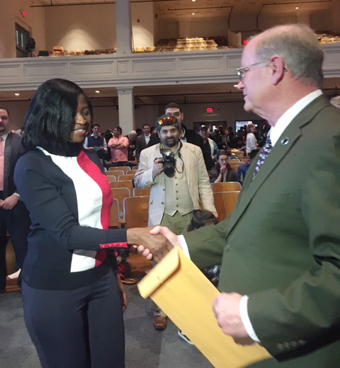 Rose Susa, a resident of Hopewell Junction and originally from Ghana, received her official United States citizenship papers at Friday's Naturalization Ceremony in the City of Poughkeepsie.