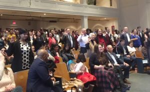 A standing-room only crowd was on hand Friday afternoon at Poughkeepsie's Family Partnership Center, where 127 people, representing 45 countries, officially became United States citizens.