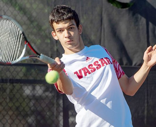 The Vassar College men's tennis team defeated the University of Rochester by a 5-4 margin at the Goergen Athletic Center. Photo: C. Stockton