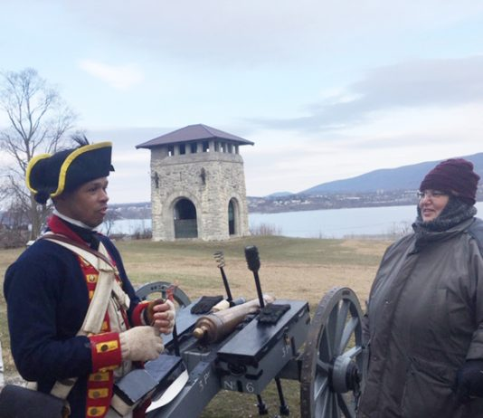 Frank Maxwell, who works in Newburgh and a member of the 4th New York Regiment, was at Washington's Headquarters over the weekend, volunteering for Lambs Artillery and explaining artillery drill- positions of the gun and how they actually fire. It's his fourth year volunteering at the annual George Washington's Birthday Celebration that spanned three days over the holiday weekend.