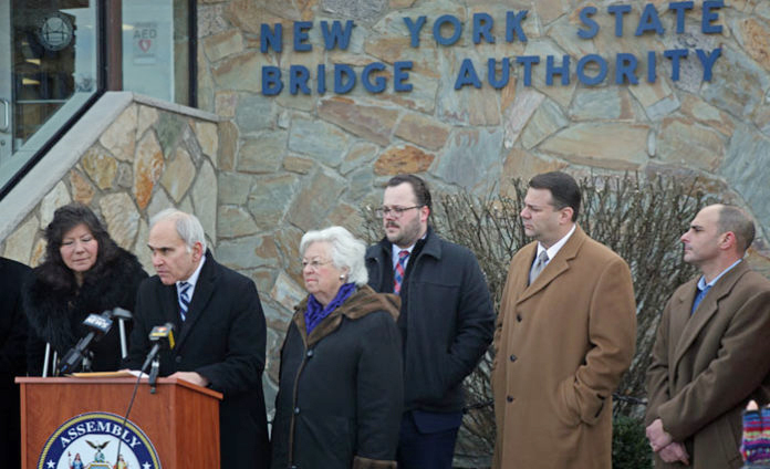 Standing with Assemblyman Jonathan Jacobson, at the podium is Assemblywoman Sandy Galef They were joined on Thursday with several other dignitaries in opposition to a Thruway Authority takeover of the New York State Bridge Authority.