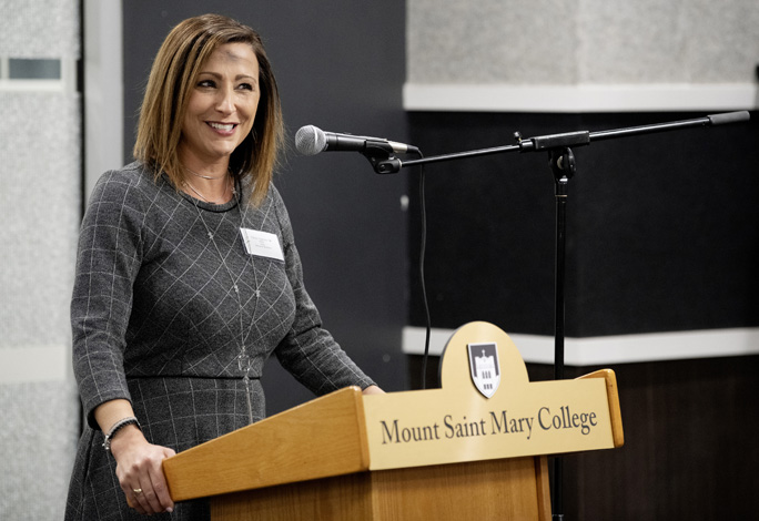 At a community reception on February 26 – Ash Wednesday – Tiffany Gagliano '02, Esq., Mount Saint Mary College's inaugural Dean of the School of Business, discussed her plans to help the college thrive. Gagliano was appointed to the role in January 2020. Photo: Lee Ferris