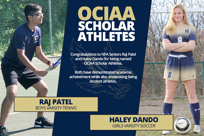 Two Newburgh Free Academy athletes, Haley Dando and Raj Patel have received the 2020 OCIAA Senior Scholar Athlete Award. The Orange County Inter-scholastic Athletic Association (OCIAA) Senior Scholar Athlete Award is given to a girl and boy in each member school.