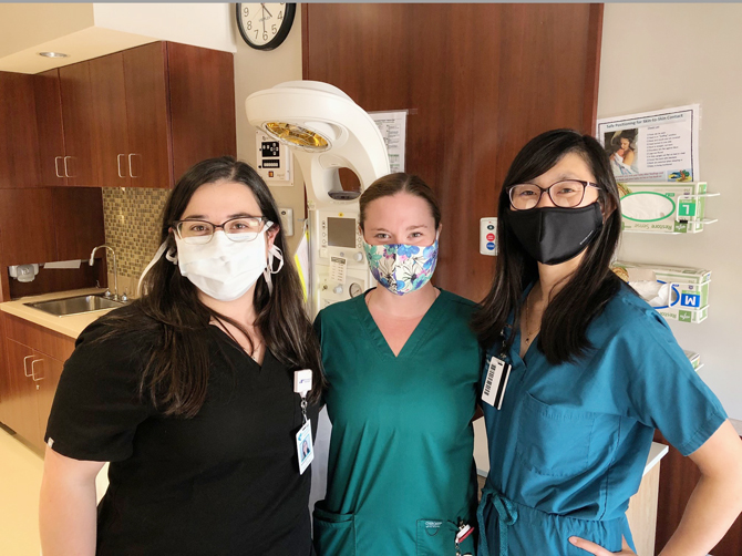 Nuvance Health's Obstetrics and Gynecology residents (from left) Amanda Ferraro, Cynthia McKinney and Anya Laibangyang pose for a photograph on Wednesday, June 24, 2020, at Danbury Hospital's birthing center.