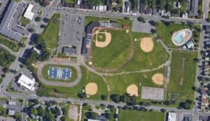 Aerial view of Delano-Hitch Recreation Park.