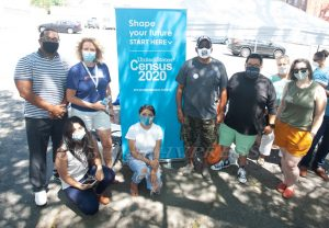 Members of the Newburgh Census 2020 Complete Count Committee were assisting people with Census forms as NYS Senator James Skoufis and NYS Assemblyman Jonathan Jacobson handed out free masks and sanitizer on Sunday, July 26, 2020. Hudson Valley Press/CHUCK STEWART, JR.