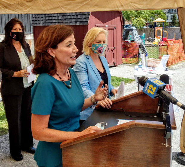 Lieutenant Governor Kathy Hochul is joined by US Senator Kirsten Gillibrand and NY State Senator Sue Serino in Poughkeepsie to talk about the need for affordable and accessible childcare in New York and the rest of the country.