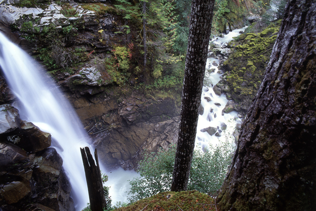 """Being around waterfalls - like this 88-foot doozy along the North Fork of the Nooksack River in Washington State — could help us with a little mental uplift courtesy of the """"negative ions"""" floating around crashing water molecules. Photo: Roddy Scheer"""