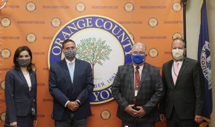 (From left to right) Orange County Health Commissioner Dr. Irina Gelman, Orange County Executive Steven M. Neuhaus, Orange-Ulster BOCES Chief Operating Officer William Hecht and Director of Operations Health and Safety Mark Coleman.