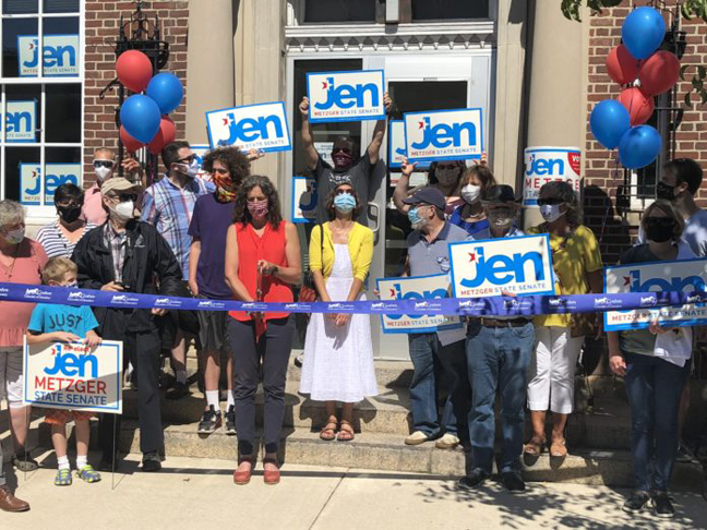 Senator Jen Metzger (D-Rosendale) officially launched her campaign for reelection in the 42nd district, opening her campaign headquarters on Main Street in Goshen with the rest of the area's Democratic slate, sharing a major focus on school funding as it relates to property taxes.